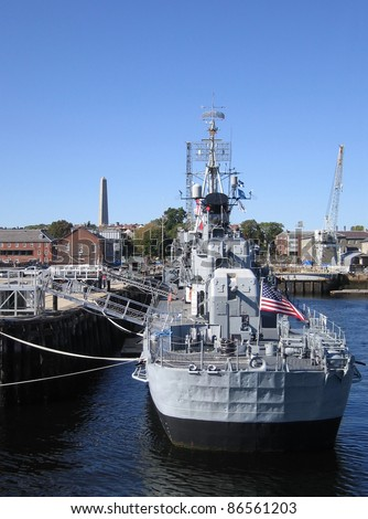 a warship anchoring in Boston (USA) at summer time - stock photo