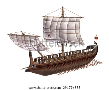 A warship of the ancient Roman Empire - 3d render.