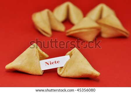 """A washout fortune cookie. """"Nothing"""" - stock photo"""