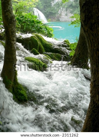 a water cascade in Plitvice National Park - stock photo