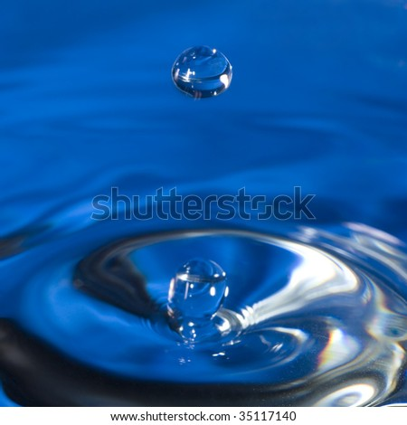 A water drop from falling into still water.