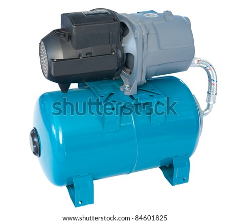 a water pumping station, isolated over white - stock photo