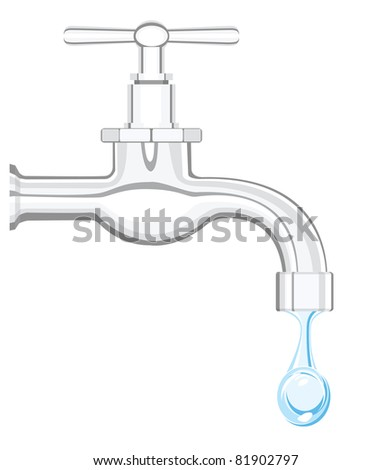 a water tap with realistic flowing water, on a white background - stock photo