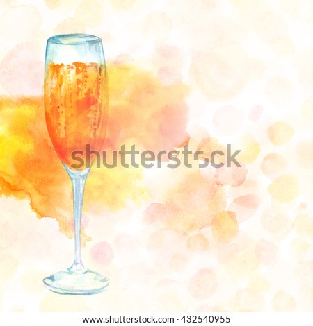 A watercolor drawing of a flute glass of sparkling wine with a dotted pastel texture in the background; a greeting card or festive menu design template with copyspace - stock photo