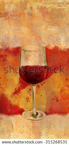 A watercolor drawing of a glass of red wine with a bright banner and a place for text', a template for a wine list, tasting invitation or menu design - stock photo