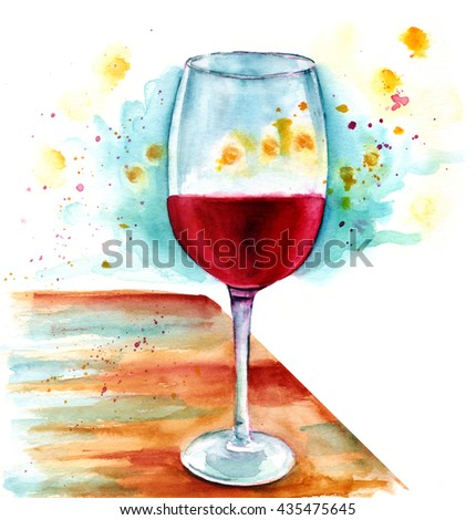 A watercolor painting of a glass of wine on a wooden table, with golden lights around it; an artistic background texture for a wine list or tasting invitation
