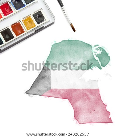 A watercolor painting of Kuwait in the national colors.(series) - stock photo