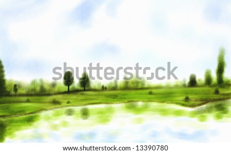 a watercolor painting of trees reflecting in a beautiful lake - stock photo