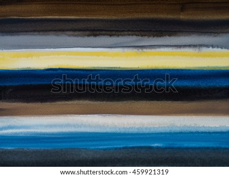 A watercolor painting with horizontal bands of color, blue/yellow/darks