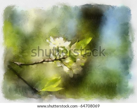 A watercolor picture of a branch of apple tree - stock photo