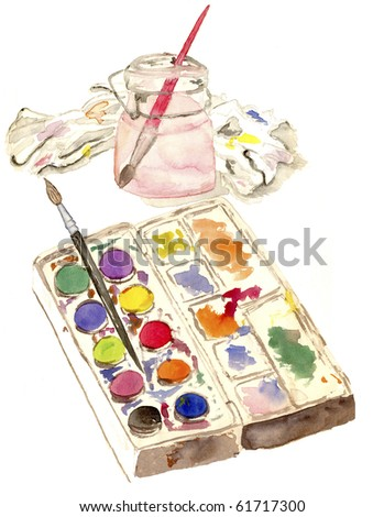 A watercolor sketch of ... well... watercolors with brush in water jar and paint rag.