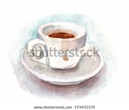 A watercolour cup of coffee against white background - stock photo