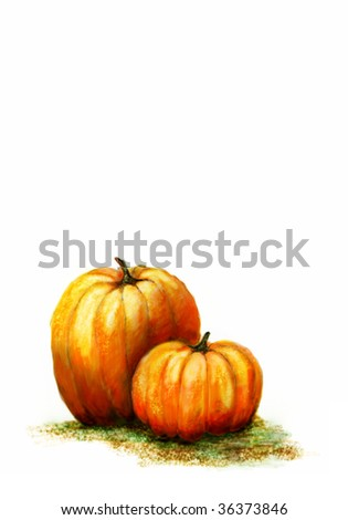A watercolour illustration of two pumpkins on white background with copy space - stock photo