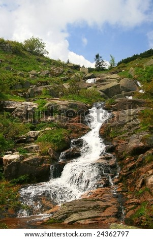 A waterfall in czech mountains