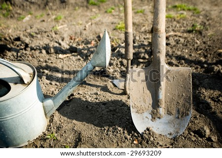 A watering can, a  spade and a small mattock on the ground in a peasant's kitchen garden