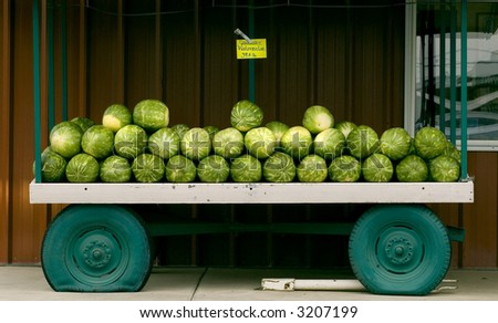 A watermelon cart at a fruit stand. - stock photo