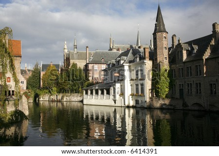 A waterway in Bruges. - stock photo
