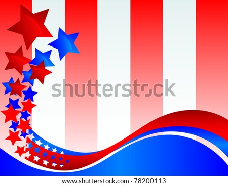 A wavy decorative banner that turns into glossy stars on a red and white striped background Vector Available Vector Available - stock photo