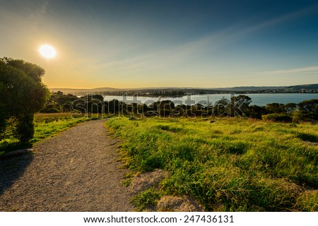 A way to the sea at Victor Harbor, Granite Island - stock photo