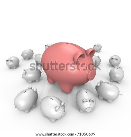 A wealthy pink piggy bank - a 3d image - stock photo