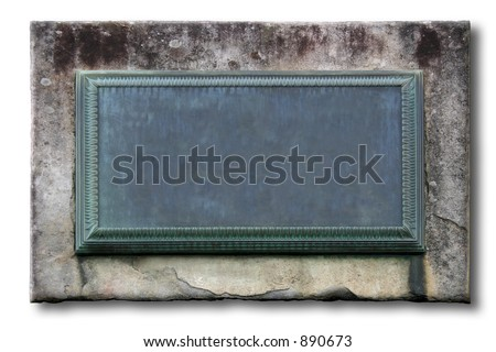 A weathered plaque embedded in a wall stone. Empty to fill in your info. [Isolated] - stock photo