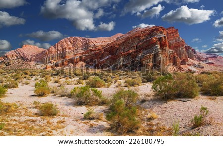 A weathered rock upthrust in the Red Rock Canyon state park along state route 14 in Southern California. - stock photo