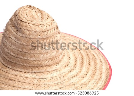A weaved bamboo hat. This hat is traditional Thai farmer hat worn while working under intensed Sun light during daytime or summer.