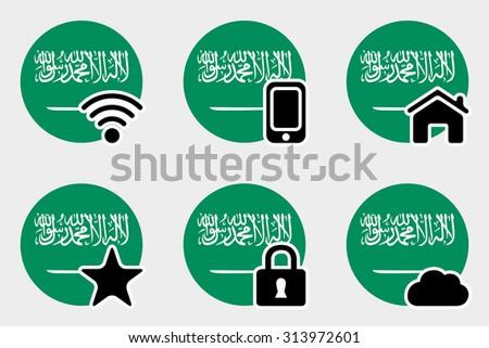 A Web Icon Set with the Flag of Saudi Arabia - stock photo