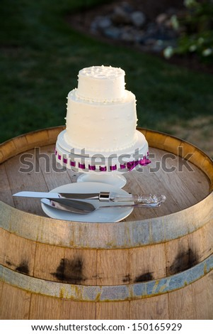 A wedding cake is ready to be cut at a reception on the bride and groom wedding day.