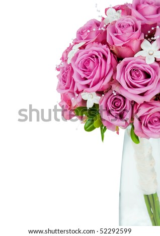 A wedding flower bouquet isolated on a white background with copyspace on the side - stock photo
