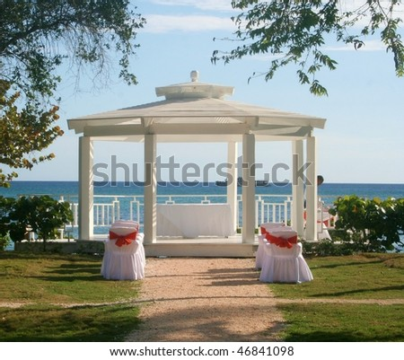 A wedding gazebo on a beach in the Dominican Republic - stock photo