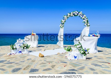 A wedding oltar nera the sea - stock photo