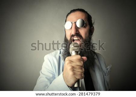 A weird singer - stock photo