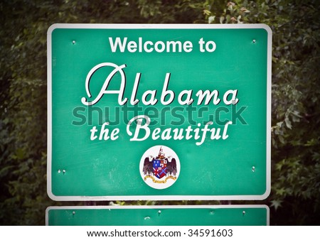 A welcome sign at the Alabama state line. - stock photo