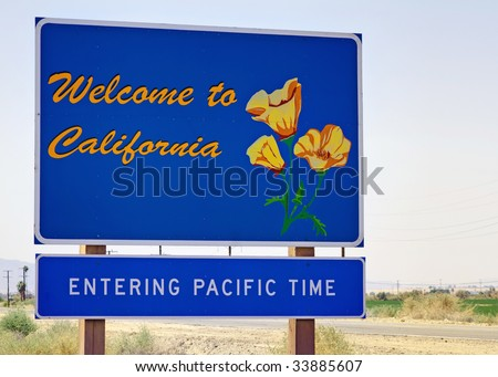 A welcome sign at the California state line.