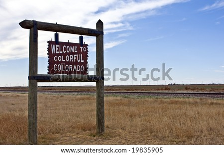 A welcome sign at the Colorado state line - stock photo