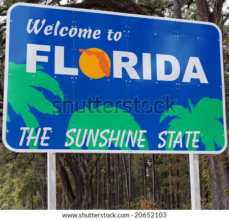 A welcome sign at the Florida state line - stock photo