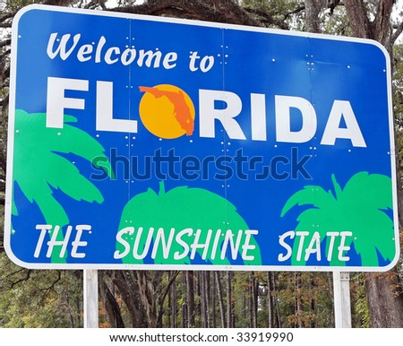 A welcome sign at the Florida state line. - stock photo