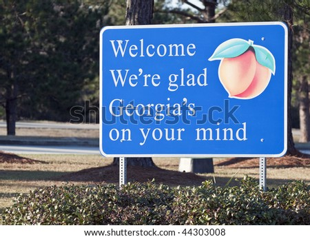 A welcome sign at the Georgia state line - stock photo