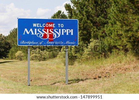 A welcome sign at the Mississippi state line.