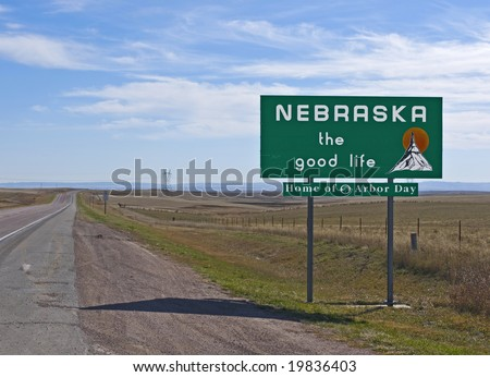 A welcome sign at the Nebraska state line - stock photo