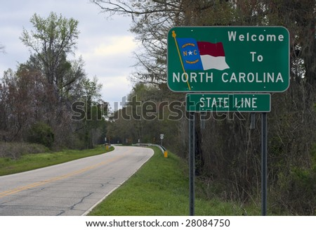A welcome sign at the North Carolina state line