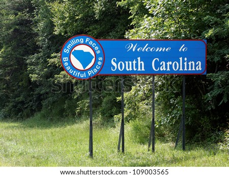 A welcome sign at the South Carolina state line. - stock photo