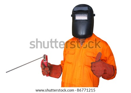 a welder showing good sign with white background - stock photo