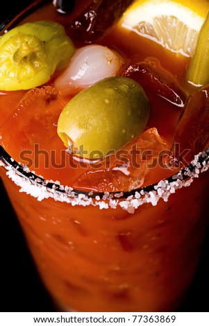 a well garnished bloody mary - stock photo