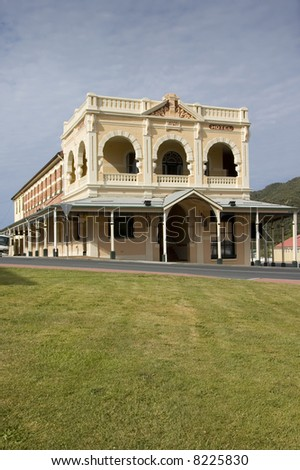 A well-kept example of a classic old hotel, typical of early settler towns in Australia. - stock photo
