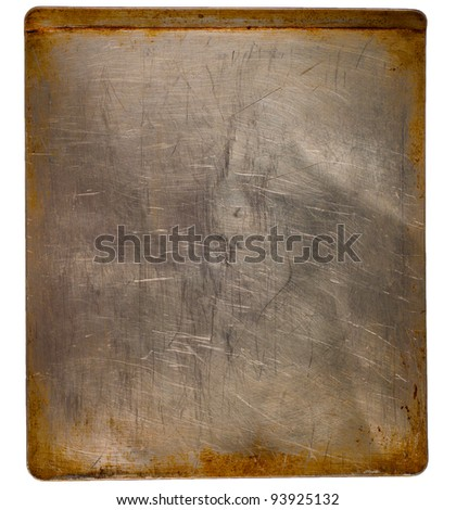 A Well Used Stainless Steel Baking Sheet Isolated on White to be Used as a Background for a Cooking Class  or Party Invitation or Announcement - stock photo