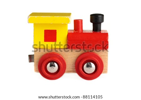 A well used toy train, isolated on a white background. - stock photo