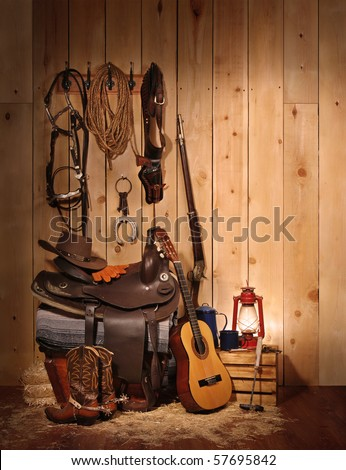 A western themed layout leaving copy space on the right hand side. - stock photo