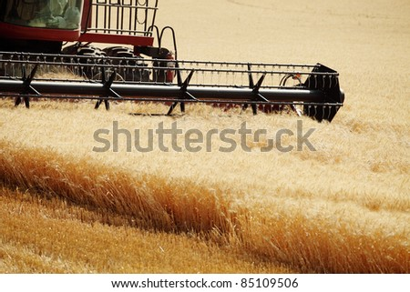 A wheat field being harvested - stock photo